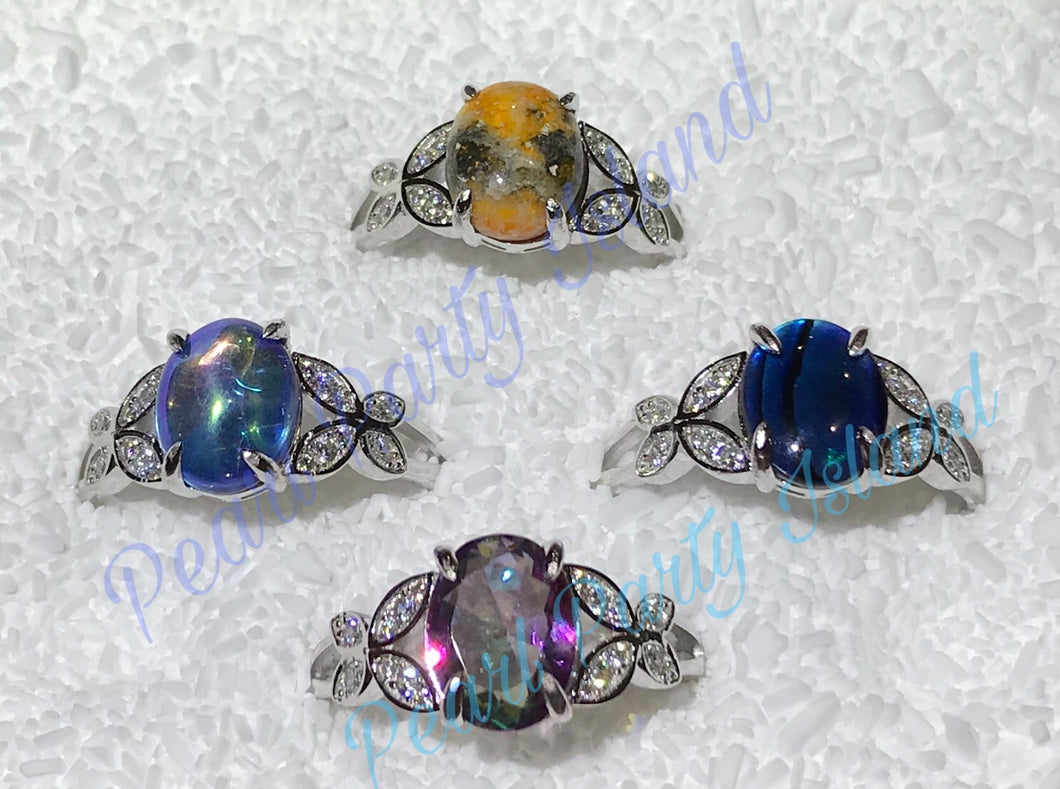 Butterfly sterling silver cabochon ring sizes 5-11 available