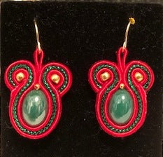 Red and Green Soutache Earrings 2