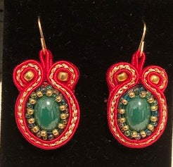 Red and Green Soutache Earrings