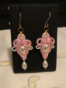 Pink and White with Pearls Soutache Earrings