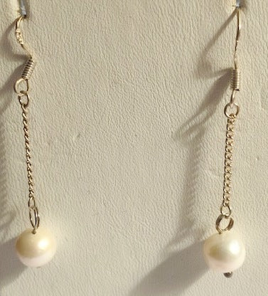 Sterling Silver Chain Fresh Water Pearl Drop Earrings