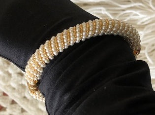 Pearl and Gold Bangle Bracelet