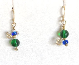 Green and Blue Swirl Glass Earrings