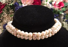 Double Strand Faux Pearl and Rhinestone Choker Necklace