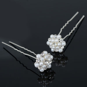 Pearl and Crystal Cluster Hairpins  (Set of 3)