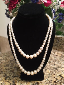 Double Strand Graduated Faux Pearl Necklace