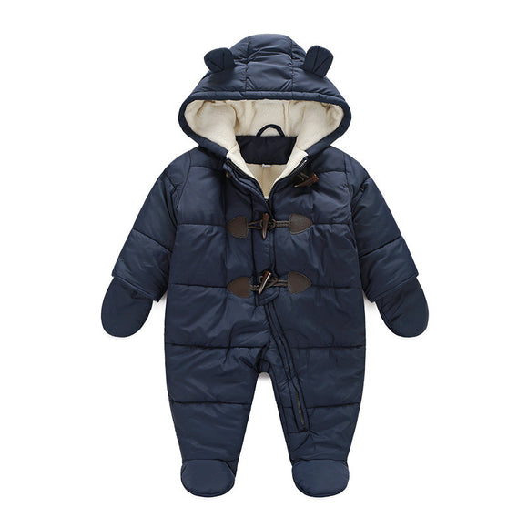 e97e4ccb9fd 2017 baby winter clothes cotton thick warm Hooded baby jumpsuits newborn baby  boy girl romper children