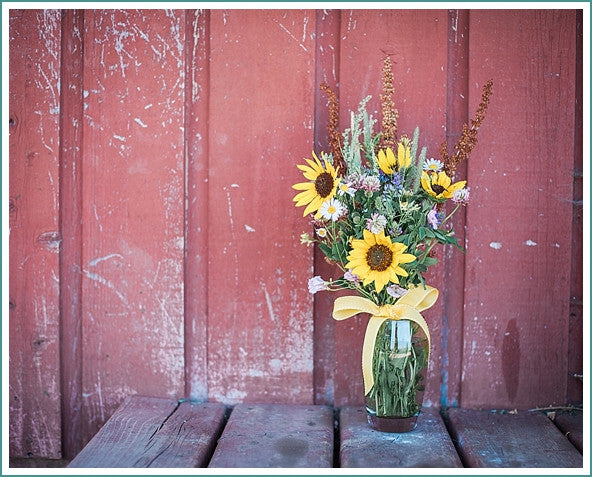 Wild Flower Bouquet | Country Farm Home | Red Paint