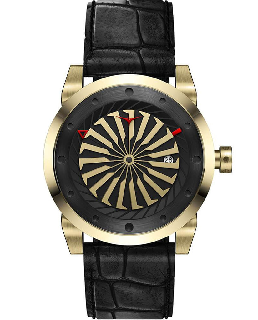 ZINVO Blade Onyx Watch In Yellow Gold Front View