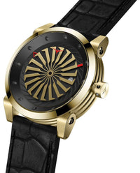 ZINVO Blade Onyx Watch In Yellow Gold Side View