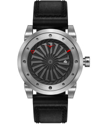 ZINVO Blade Brushed Silver Watch With Black Strap Front View