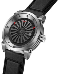 ZINVO Blade Brushed Silver Watch With Black Strap Side View