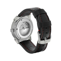 ZINVO Blade Brushed Silver Watch With Black Strap Back View