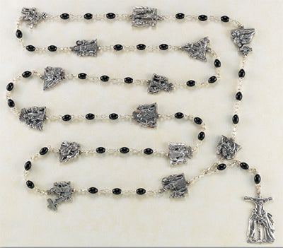 BLK GLASS/STATIONS OF THE CROSS ROSARY - 017BK - Catholic Book & Gift Store