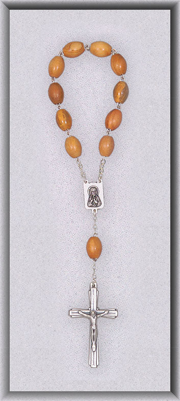 ONE DECADE ROSARY/TAN WOOD - 039 - Catholic Book & Gift Store