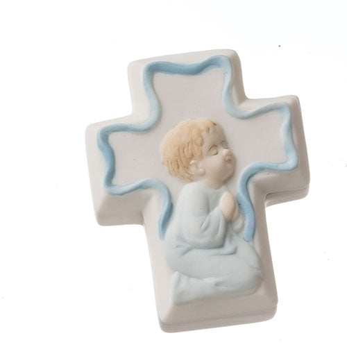 PORCELAIN CROSS BOX W/BLUE ROSARY - 09842H - Catholic Book & Gift Store