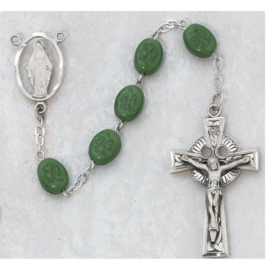 OVAL GREEN SHAMROCK ROSARY - 120DF - Catholic Book & Gift Store