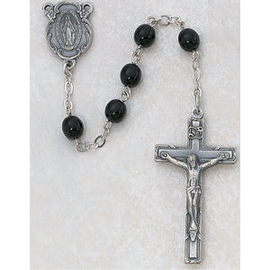 7MM BLACK GLASS ROSARY - 121D-BKF
