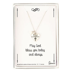 "15"" RHODIUM 1ST COMMUNION NECKLACE"