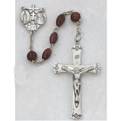 STERLING 4X6MM COCOA BEAD ROSARY - 129LF - Catholic Book & Gift Store