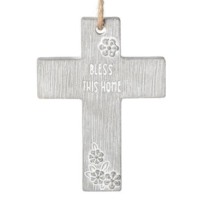 "4""H BLESS THIS HOME CEMENT CROSS"