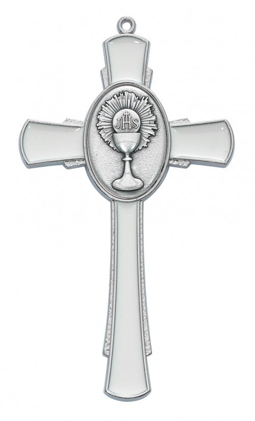 WHITE ENAMELED CHALICE CROSS - 133-66 - Catholic Book & Gift Store