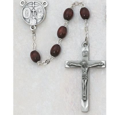 6X8MM BROWN WOOD ROSARY - 137D-BRF