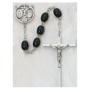 STERLING 6X8MM BLACK WOOD ROSARY - 137L-BKF - Catholic Book & Gift Store