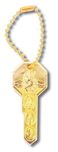 GOLD KEY ON BALL CHAIN/KEY RING - 1415-07 - Catholic Book & Gift Store