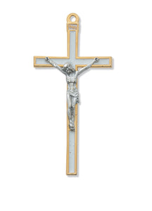 "5 1/2"" WHITE ENAMEL CRUCIFIX - 147-18 - Catholic Book & Gift Store"