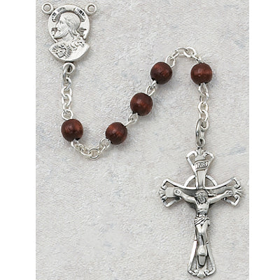 5MM BROWN WOOD ROSARY - 159L-BRG - Catholic Book & Gift Store