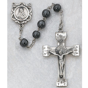STERLING SILVER 6MM GENUINE HEMATITE ROSARY - 163LF - Catholic Book & Gift Store