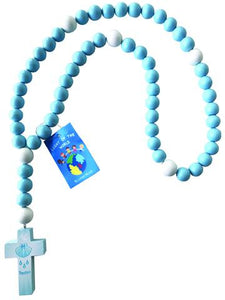 BLUE BAPTISM LARGE BEAD BABY ROSARY