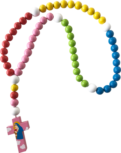Light of the World - Large Baby Rosary - Mary with Jesus - Pink