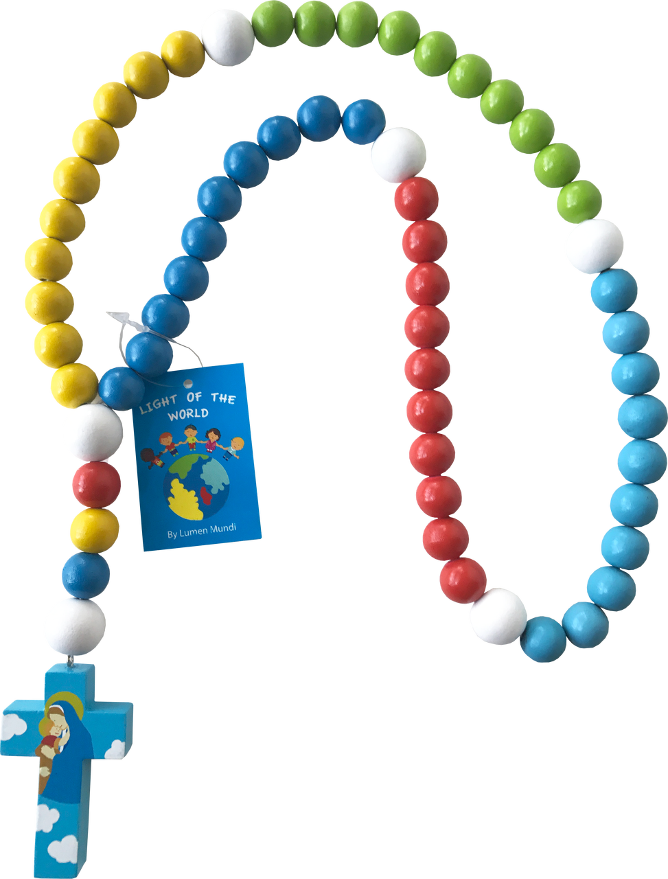 Light of the World - Large Baby Rosary - Mary with Jesus - Blue