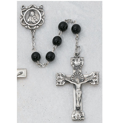 STERLING SILVER 5MM GENUINE BLACK ONYX ROSARY - 164LF - Catholic Book & Gift Store
