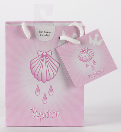 SMALL/BAPTISM GIFT BAG/PINK - 165-20-1004 - Catholic Book & Gift Store