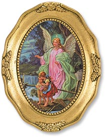 OVAL FRAMED/GUARDIAN ANGEL W/CHILDREN - 167-079 - Catholic Book & Gift Store