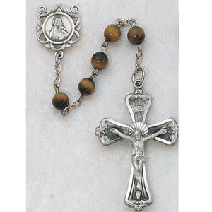 STERLING SILVER 6MM TIGER EYE ROSARY - 169LF - Catholic Book & Gift Store