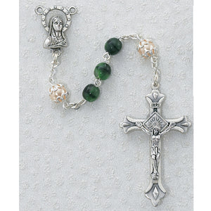 6MM GREEN/PEARL ROSARY - 170-GRR - Catholic Book & Gift Store