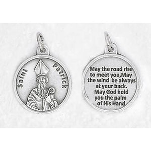 ROUND ST. PATRICK SILVER TONE MEDAL WITH PRAYER