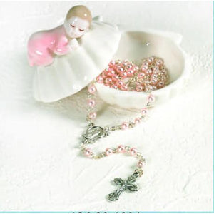 Porcelain Baby Keepsake Box with Rosary - Girl - Clam Shell