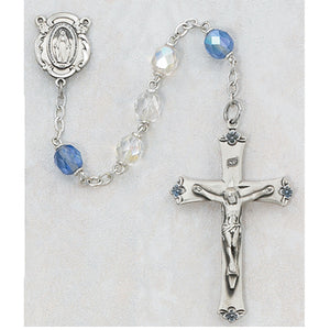 STERLING 7MM CRYSTAL ROSARY - 189L-BLF - Catholic Book & Gift Store