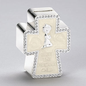 "4.25""H CROSS SHAPED BANK WITH PRAYING GIRL ""BLESS THIS PRECIOUS CHILD"""