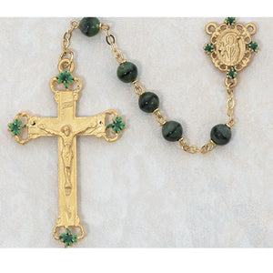 7MM GOLD/GREEN GLASS ROSARY - 197HF