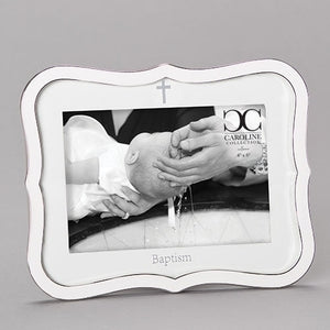 "8.25""H WHITE BAPTISM FRAME HOLDS 4X6 PHOTO"
