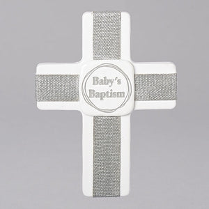 "5.25""H BABY BAPTISM WALL CROSS"