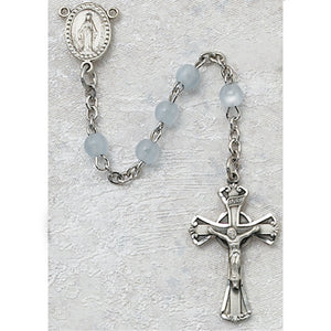 3MM BLUE GLASS ROSARY - 201D-BLG - Catholic Book & Gift Store