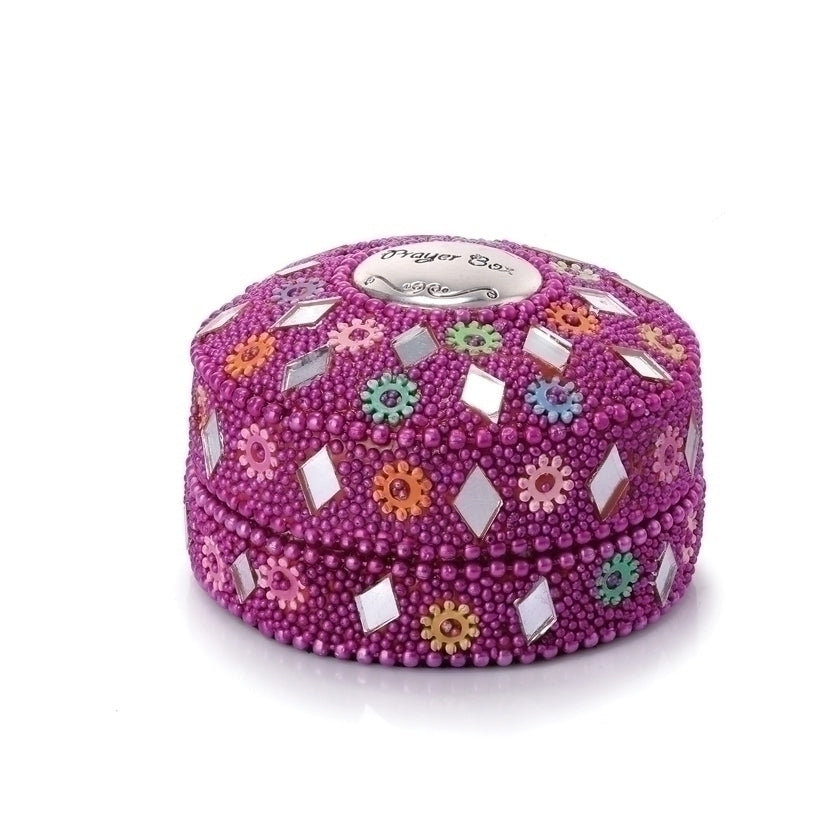 PRAYER BOX ROUND/RASPBERRY BEADS - 20372 - Catholic Book & Gift Store