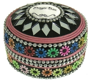 PRAYER BOX ROUND/MULTI COLOR BEADS - 20373 - Catholic Book & Gift Store